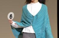 6.ダイヤシルクスフレで編む!真っ直ぐ編んでマント風ストール デザイン:伊原木尚子
