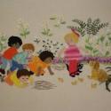 浦川久美子作品:子犬と子供