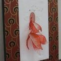 井関睦子作品:金魚(スタンプワーク、壁紙のフレーム)